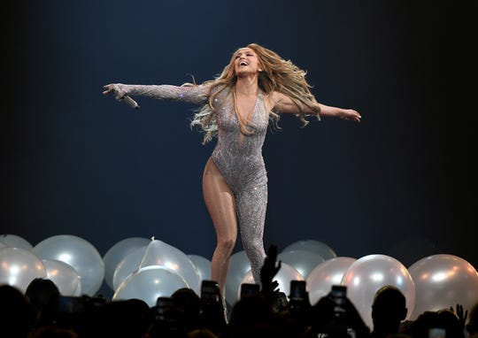 LAS VEGAS, NEVADA - JUNE 15:  Jennifer Lopez performs during a stop of her It's My Party tour at T-Mobile Arena on June 15, 2019 in Las Vegas, Nevada.  (Photo by Ethan Miller/Getty Images for ABA) ORG XMIT: 775346223 ORIG FILE ID: 1156296330