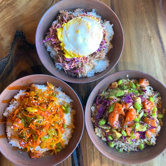 The poke from Shaka Bowls in Hoboken are made with rice, fresh fish and veggies.