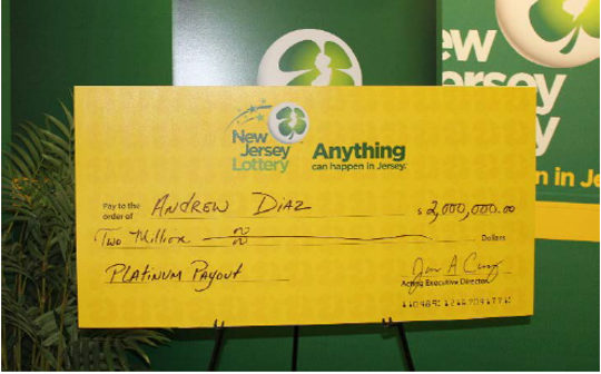 Andrew Diaz, of Seaside Heights, won $2 million from an NJ Lottery scratch-off game