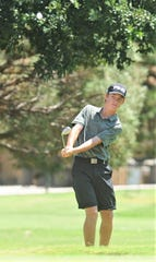 Abilene's Karson Grigsby chips on to the green at No. 9 during the final round of the AJGA Folds of Honor hosted by Bob Estes golf tournament Thursday, July 18, 2019, at the Abilene Country Club's South Course.