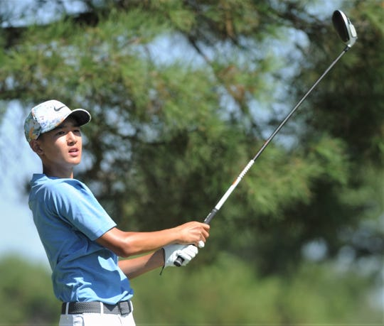 Austin's Keaton Vo watches his shot from the tee at No. 6 during the final round of the AJGA Folds of Honor hosted by Bob Estes golf tournament Thursday, July 18, 2019, at the Abilene Country Club's South Course. Vo started the day tied with Abilene's Karson Grigsby for the lead with a two-day total 139.
