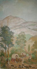 The Buncombe Turnpike, the big commercial enterprise of antebellum Western North Carolina, arrives at a resort in Hickory Nut Gap, as depicted in the mural at the McClure-Ager home in Fairview.