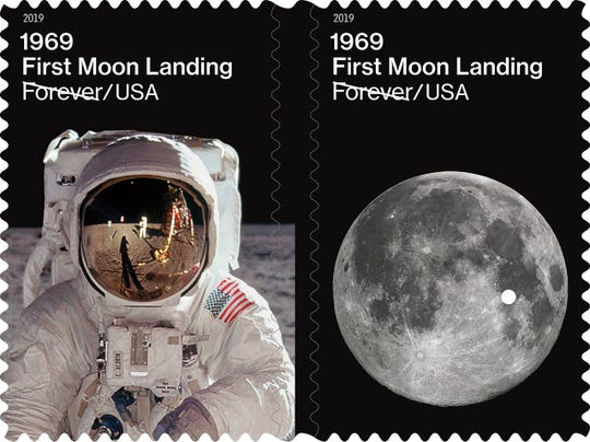 First Moon Landing Forever stamps being issued as part of the 50th anniversary celebrations but the U.S. Postal Service.