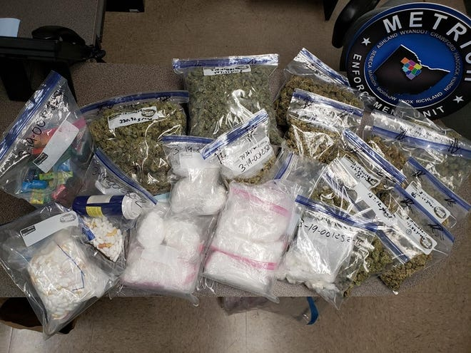 A wide variety of drugs, including $140,000 worth of methamphetamines, and drug-related items were seized after Bucyrus police searched a vehicle and a Hopley Avenue home on Tuesday.