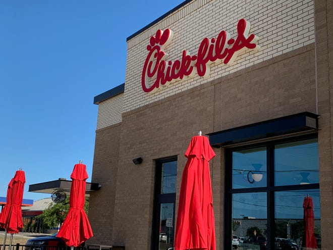 "Chick-fil-A in Grand Chute will be delayed from its original Aug. 22 opening date. The new time-frame is ""by early September."" Shown here, a location in Corpus Christi, Texas."