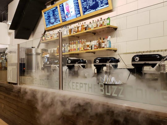 Fog created by liquid nitrogen at Buzzed Bull Creamery