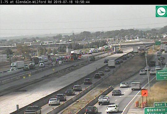 Northbound I-75 is closed near Glendale Milford Road due to a crash.