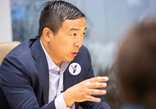 Democratic presidential candidate Andrew Yang meets with the Register Editorial Board Thursday, July 18, 2019.