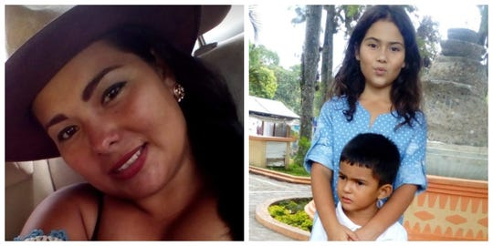 A photo collage of Rossibeth Flores-Rodriguez, left, shown in a 2017 picture, and her two children, 11-year-old Grecia Daniela Alvarado-Flores and 5-year-old Ever Jose Mejia-Flores, in 2017.