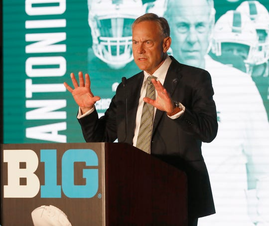 Michigan State head coach Mark Dantonio responds to a question during the Big Ten Conference NCAA college football media days Thursday, July 18, 2019, in Chicago. (AP Photo/Charles Rex Arbogast)