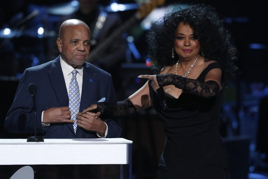 "Berry Gordy and Diana Ross onstage at ""Motown 60: A Grammy Celebration,"" taped in February 2019 in Los Angeles."