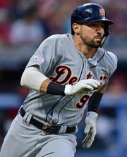 Detroit Tigers' Nicholas Castellanos runs after hitting a double during the sixth inning against the Cleveland Indians, Wednesday, July 17, 2019, in Cleveland.