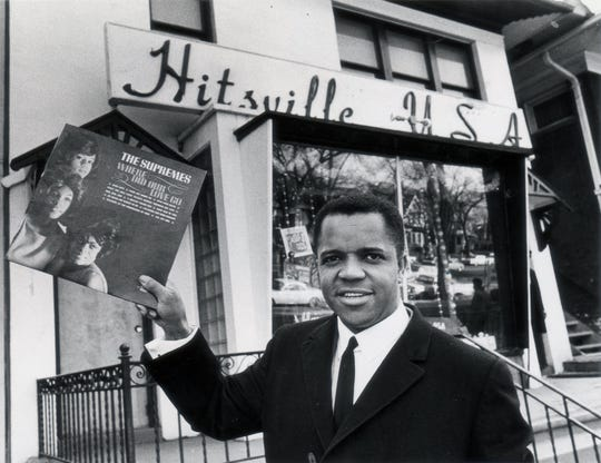 Berry Gordy Jr. outside the Hitsville USA on West Grand Blvd in Detroit.