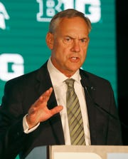Michigan State coach Mark Dantonio responds to a question during the Big Ten media days on Thursday, July 18, 2019, in Chicago.