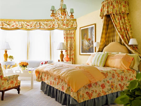 "Grand Hotel's Laura Bush suite, photographed for hotel designer Carelton Varney's book ""Rooms to Remember."" Varney knew Bush, and worked with her to design the suite named and decorated in her honor."