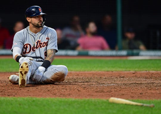 Detroit Tigers' Nicholas Castellanos after scoring during the sixth inning against the Cleveland Indians, Wednesday, July 17, 2019, in Cleveland.