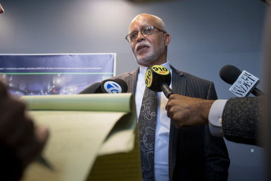Warren Evans speaks to the media after introducing a transit plan to the public at SEMCOG in Detroit, Mich., Thursday, March 15, 2018.