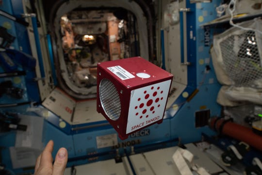 An earlier experiment floats in zero gravity on the International Space Station.