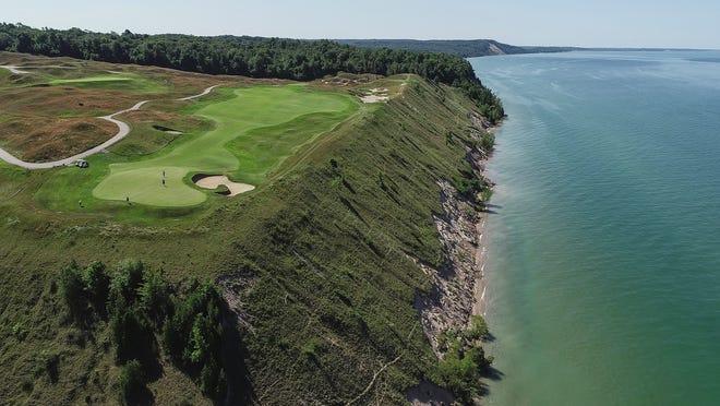 Aerial photo of Arcadia Bluffs Golf Club 12th hole green and fairway near Arcadia Township, Friday, July 13, 2019.