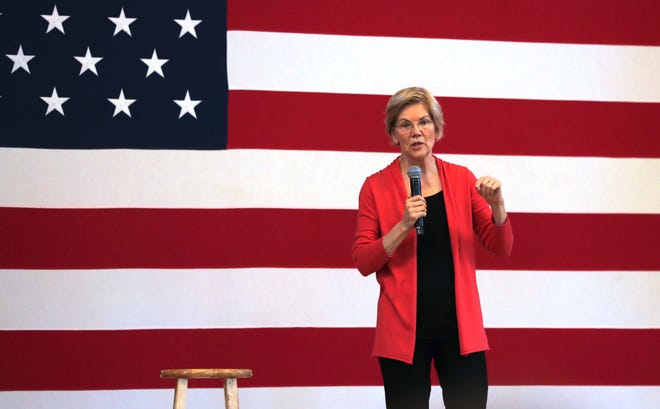 Democratic presidential candidate Sen. Elizabeth Warren, D-Mass., during a campaign stop in Peterborough, N.H., Monday, July 8, 2019.