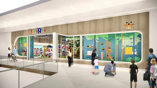 This undated artist rendering provided by Toys'R'Us shows an artist rendering of a new store, which will be about 6,500 square feet, a fraction of the brand's former big box stores, which were about 30,000 square feet.