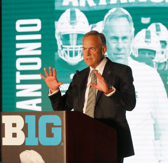 Michigan State coach Mark Dantonio responds to a question during the Big Ten media days Thursday in Chicago.