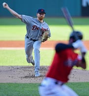 Detroit Tigers starting pitcher Spencer Turnbull delivers to Cleveland Indians' Oscar Mercado during the first inning.