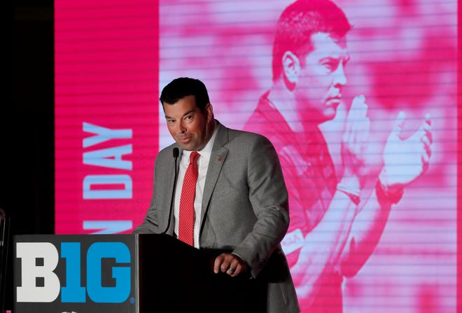 Ohio State head coach Ryan Day responds to a question during the Big Ten media days on Thursday.