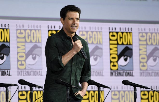 "Tom Cruise presents a clip from ""Top Gun: Maverick"" on day one of Comic-Con International on Thursday, July 18, 2019, in San Diego."