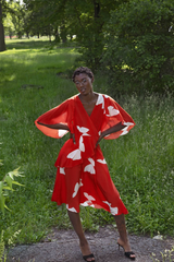 Model wearing a dress from Tracy Reese's sustainable collection