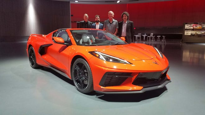 The men behind the machine: The 2020 Chevy Corvette Stingray was developed by, from left, Mike Simcoe, exterior designer; Mike Murphy, interior designer; Tadge Juechter, chief engineer; with Harlan Charles, marketing boss.