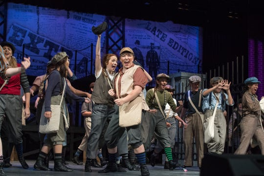 """A dance scene during a dress rehearsal of the Warrick County School Corporation and the Warrick Public Education Foundation's 23rd summer musical """"NEWSIES."""" The play that usually only casts males will use both male and female cast members Tuesday, July 16, 2019."""