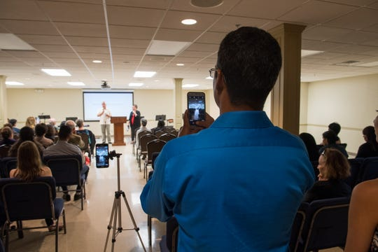 Pastor Leonid Marsan Rodriguez records the inaugural Hispanic Church service being held at Oak Hill Baptist Church Sunday. Marsan Rodriguez from Cuba has been building a group of around 40 members through home Bible studies, July 14, 2019.