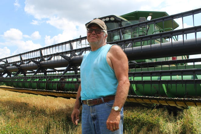 Oak Harbor farmer Ron Laubacher is one of the few Ottawa County wheat farmers who were able to plant this year, as heavy rains and flooded fields put a damper of most farmers' planting seasons.
