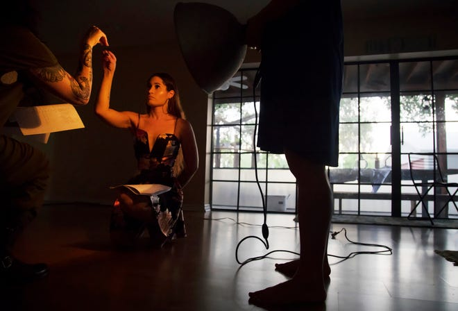 """Violet Shindler rehearses recently for Ghostbird Theatre Company's production of """"3,"""" which runs Aug. 2-10 at the Koreshan State Historic Site in Estero."""