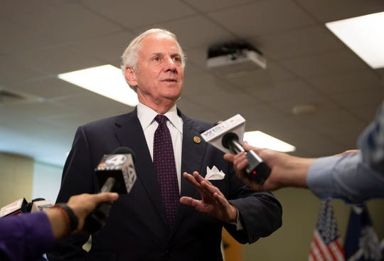 Gov. Henry McMaster speaks to media following a roundtable at Hidden Treasure Christian School in Taylors Thursday, July 18, 2019.