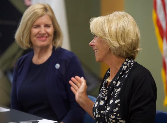 U.S. Education Secretary Betsy DeVos at an event to promote school choice proposal at Hidden Treasure Christian School in Taylors, SC, on Thursday, July 18, 2019. To her left sits SC Education Superintendent Molly Spearman.