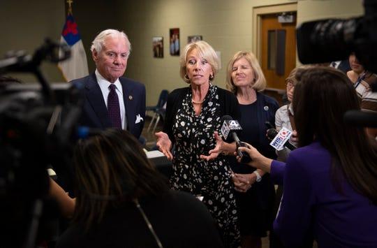 U.S. Secretary of Education Betsy DeVos speaks to media following a roundtable at Hidden Treasure Christian School in Taylors Thursday, July 18, 2019.