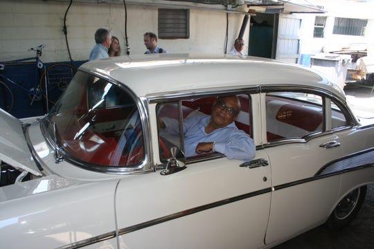 A 1955 Chevy in repair shop in Cuba.