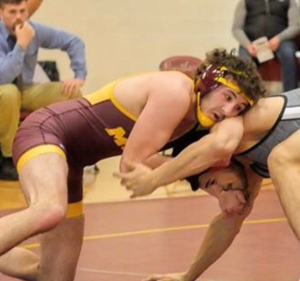 Former Choteau wrestling standout Steeler French, shown wrestling for Montana State Northern in a dual with Southern Oregon last year, is a two-time state high school champion.