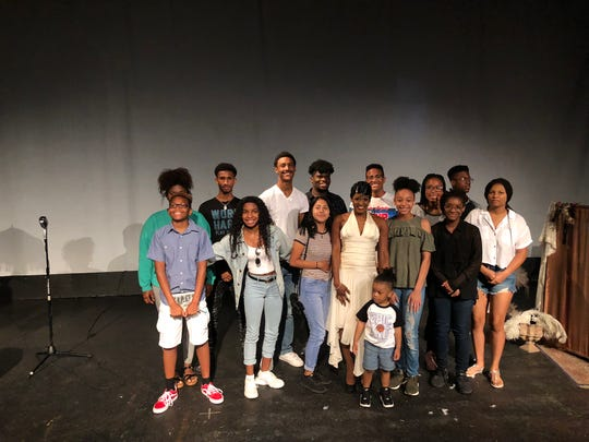 """Tymisha Harris (middle) played entertainer Josephine Baker in """"Josephine"""" at IndyFringe. In the audience were students with Indiana Black Expo's performing arts academy."""