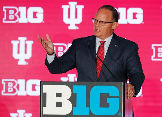Hoosiers coach Tom Allen speaks during the Big Ten Football Media Days event at Hilton Chicago.DAY Sports
