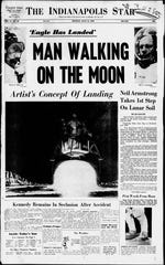 Indianapolis Star front page from July 22, 1969.