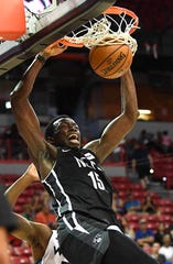 Jul 14, 2019; Las Vegas, NV, USA; Brooklyn Nets center Amida Brimah (15) dunks during the second half of an NBA Summer League game against the Minnesota Timberwolves at Thomas & Mack Center.