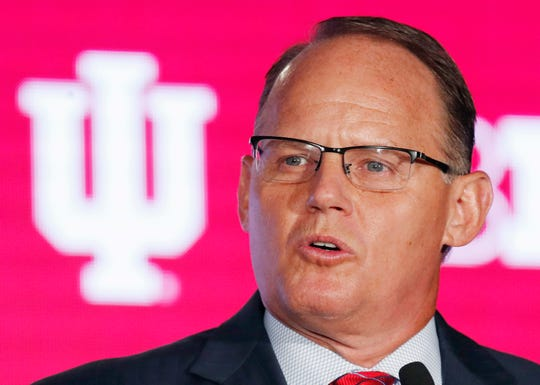 Indiana Hoosiers coach Tom Allen speaks during the Big Ten Football Media Days event at Hilton Chicago.