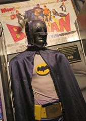 The original Batman costume worn by Adam West in the television series is displayed at the Hall of Heroes Superhero Museum in Elkhart on Monday, July 8, 2019.