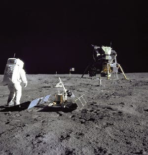 Lunar Module pilot Buzz Aldrin was photographed during the Apollo 11 extravehicular activity on the moon by mission commander Neil Armstrong.
