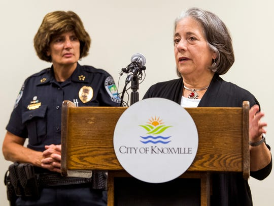 Knoxville Mayor Madeline Rogero, right, speaks to the media as Knoxville Police Chief Eve Thomas, left, watches on during a press conference at the City-County Building in downtown Knoxville on Thursday, July 18, 2019.