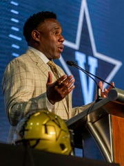 Vanderbilt Commodores head coach Derek Mason speaks to the media during SEC Media Days at the Hyatt Regency-Birmingham.