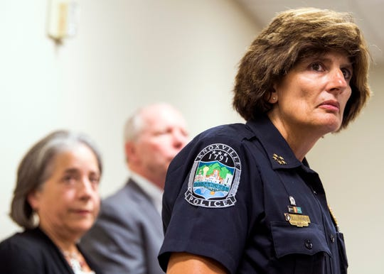 Knoxville Police Chief Eve Thomas, right, speaks to the media as Knoxville Mayor Madeline Rogero, left, watches on during a press conference at the City-County Building in downtown Knoxville on Thursday, July 18, 2019.